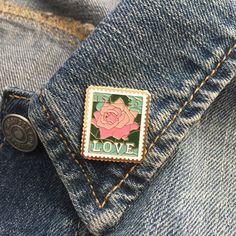 Vintage rose love 25 cent stamp enamel lapel pin (stock#246) by velveteenstabit on Etsy https://www.etsy.com/listing/476235966/vintage-rose-love-25-cent-stamp-enamel