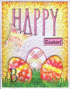 Sample by Texana Designs DTM Janet Bradshaw using our Texana Designs Jam'n Egg Solid, HAPPY (KALDesigns) and Butterfly mini stamps.