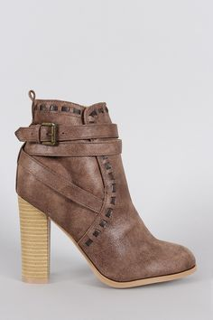Qupid Strappy Thick Heeled Ankle Boots   UrbanOG