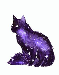 Fantasy Creatures, Mythical Creatures, Art Inspo, Cute Art, Pretty Art, Bel Art, Arte Black, Art Mignon, Galaxy Cat