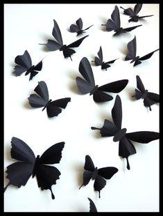 3D Wall Butterflies 20 Assorted Black Butterfly by BugsLoft