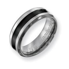 Men's 8.0mm Engraved Titanium with Black Enamel Inlay Wedding Band (27 Characters) - View All Jewelry -  $71.10 Gordon's Jewelers