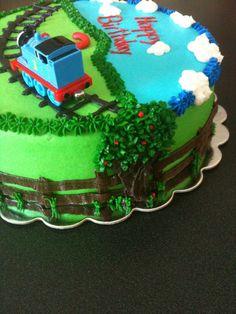 Thomas The Train - Loving my trees on Thomas cake!