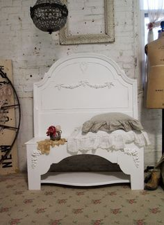 Painted Cottage Chic Shabby Farmhouse Bench by paintedcottages, $295.00