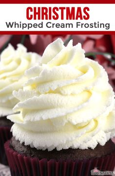 The Best Whipped Cream Frosting You're gonna want to try this Christmas Whipped Cream Frosting on all of your Christmas baked goods. So easy to make and super delicious, it is the best Christmas Frosting Recipe you'll ever try. Frosting Recipes, Cupcake Recipes, Cupcake Cakes, Best Cream Frosting Recipe, Sweets Recipes, Cream Filling Recipe, Nutella Recipes, Cupcake Ideas, Cooking Recipes