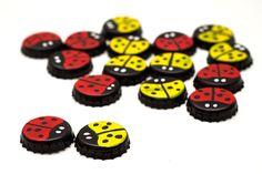 diy board game bottle cap ladybug checkers game red yellow ladybug