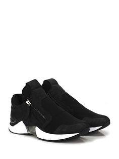 CINZIA ARAIA - Sneakers - Uomo - Sneaker in pelle lavorata, tessuto elasticizzato e pelle con zip su ambo i lati e suola in gomma. Tacco 60, platform 25 con battuta 35. - BLACK - € 460.00