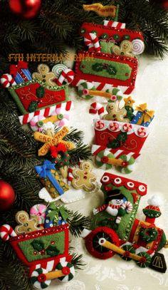 Bucilla Candy Express ~ 6 Piezas. Kit De Adornos de navidad de fieltro #86157, tren, Escarchado
