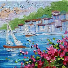 Abstract Original Oil Painting Santorini Sailboats door rbealart
