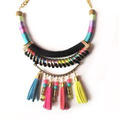 Statement necklace tribal necklace neon jewelry pom por tashtashop, $38.00
