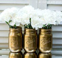 Carnations in gold mason jar