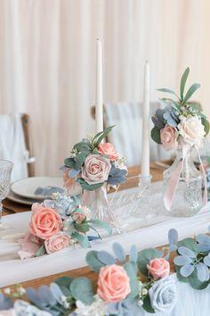 Pew Decorations, Wedding Decorations, Spring Wedding Centerpieces, Quinceanera Centerpieces, Jar Centerpieces, Wedding Bouquets, Wedding Flowers, Wedding Arches, Wedding Greenery