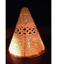 Xylem pendant light in brass ethnic lamps pinterest pendants lampshade handpainted cone leather puppet mozeypictures Image collections
