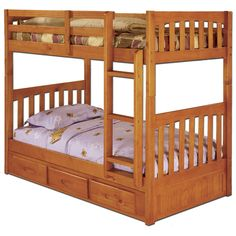This twin over twin size bunk bed in a rich honey finish provides plenty of sleeping area and storage while taking up very little space. This unit is constructed of solid wood and is ready to assemble. The three-drawer under-bed unit provides ample space for storage.