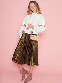 Dahlia Clem Khaki Metallic Pleated Skirt with Elasticated Waist