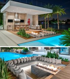 A Sunken Lounge Around A Fire Is A Great Way To Create A Relaxed Outdoor Vibe Choeff Levy Fischman has designed a modern house in Miami, Florida, and as part of the design, they included an outdoor entertaining area with a sunken lounge. Backyard Pool Landscaping, Small Backyard Pools, Backyard Patio Designs, Swimming Pools Backyard, Modern Backyard, Small Pool Houses, Modern Pool House, Modern Outdoor Kitchen, Outdoor Kitchen Bars