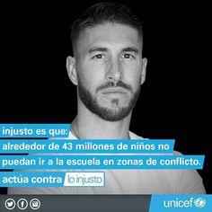 SergioRamosLos niños en zonas de conflicto necesitan ayuda. #Actúacontraloinjusto con @unicef_es #unicef
