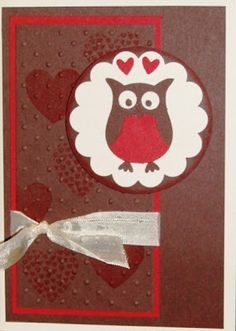 SU!  Owl Builder punch; Hearts a Flutter stamp set; colors are Very Vanilla, Riding Hood Red, Chocolate Chip - Libby Dyson