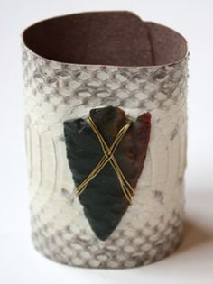 Arrowhead and White Python Leather Bracelet by S. Carter Designs