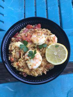 [Homemade] Local South Carolina shrimp and yellow saffron rice made with homemade shrimp head and ham hock stock.
