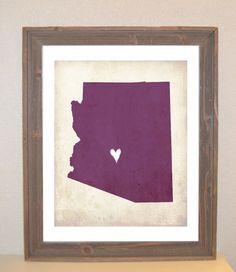 Arizona Love State Customizable Art Print. $16.00 USD, via Etsy. I just ORDERED mine!