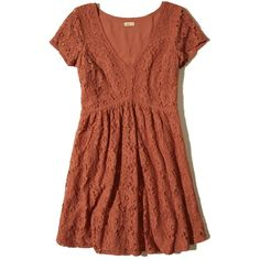 Hollister V-neck Lace Skater Dress ($29) ❤ liked on Polyvore featuring dresses, orange lace, brown lace dress, skater skirt, flared skirts, lace skater dress and skater dress