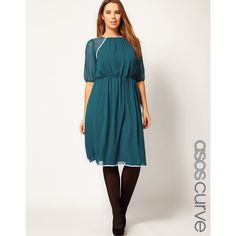 Asos Curve Midi Dress With Contrast Piping ($53) via Polyvore