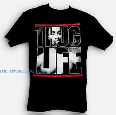 Men's Tupac Thug Life Black T Shirt All by Interstateblingbling, $11.99
