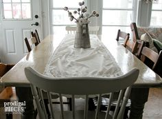 Farmhouse Table with Whitewash by Prodigal Pieces | www.prodigalpieces.com