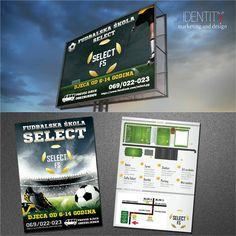 Dizajn bilbord plakata, flajera i postera za klijenta: Fudbalska škola Select / Design of billboard, flyer and poster for client: Football school Select Billboard, Football, School, Poster, Design, Soccer, Futbol, Poster Wall, American Football