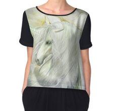 Unicorn Rose Women's Chiffon Top featuring the art of Carol Cavalaris.