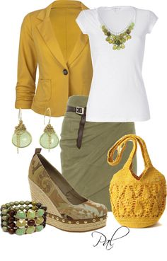 Yellow and army green outfit inspiration Love Fashion, Fashion Looks, Womens Fashion, Fashion Ideas, Spring Summer Fashion, Autumn Fashion, Style Summer, Looks Style, My Style