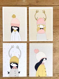 Cartes postale mat, fille d'hiver  Nélia Illustration Peanuts Comics, Illustration, Daughter, Objects, Winter, Cards, Illustrations
