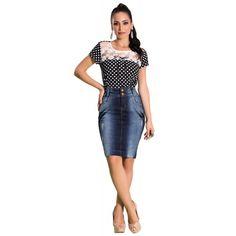 Saia Jeans com Puídos - Laura Rosa Jeans