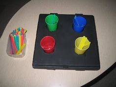 Teaching Learners with Multiple Special Needs: DIY Vocational Training Boxes.  simple color sorting task with cups and popsicles
