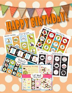 9 Party Themed Free Printables......Each kit comes packed with 12 unique cupcake toppers, a birthday banner, blank customizable pages (where you can customize your own toppers and party banner--for free!) and matching invitations.
