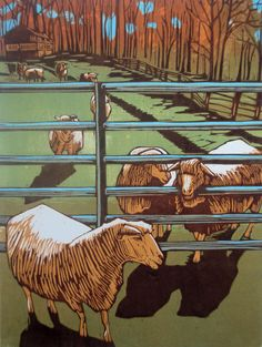 """On the Outside (Sheep)"", 2011, Woodblock Print by Amanda Gordon Miller. http://www.amandagordonmiller.com/. Tags: Linocut, Cut, Print, Linoleum, Lino, Carving, Block, Woodcut, Helen Elstone, Trees, Gate, Farm, Animals, Sheep."