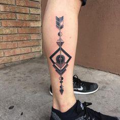Arrow Tattoo on Leg by Elvis Shirley
