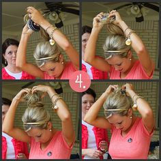 The sock bun.... Put a sock in it =) This is so creative and looks easy...therefore I bet I'll have trouble doing it.