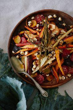 roasted root vegetables with honey orange vinaigrette