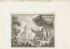 Simon Fokke | De hertog van Anjou gehuldigd te Antwerpen, 1582, Simon Fokke, 1782 - 1784 | Huldiging van Anjou te Antwerpen, 19 februari 1582. Op een podium krijgt hij de mantel en hoed van de hertog van Brabant.