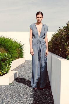 AQ/AQ 'New Proportions' Reese Wide Leg Jumpsuit in Slate Blue