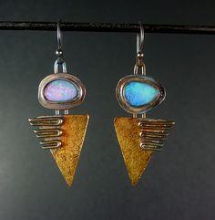 Sterling silver Opal Earrings from Oblivion Jewellery