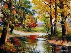 Autumn Landscape Impasto Original Oil Painting Forest River Impression EU Artist #Impressionism