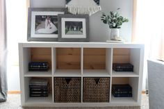 Ikea bookshelf hack. Adding milk paint and a pallet back to give a bookshelf a new look! homestead128.com