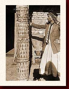 In 1923, Wolley explored a site near Ur (Iraq) called Tell al-Ubaid. He uncovered a temple 4500 years old. The temple had decayed, but Woolley found objects which may have decorated it.The temple was the home of the Sumerian goddess Ninhursag.(lady of the hill country).Woolley found mosaic columns which he thought might have framed the temple door. They are wooden with pieces of red limestone and mother of pearl glued in place using bitumen.