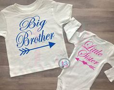 c8c0fd51f Big Brother, Little Sister, Matching Sister Brother Shirts, Royal Blue, Hot  Pink