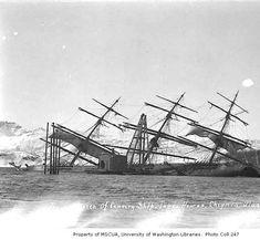 Wreck of the salmon cannery ship JABEZ HOWES, Chignik, 1911 :: John E. Thwaites Photographs of Alaska, Shipwreck, Sailing Ships, Alaska, Salmon, Boat, History, Storms, Photographs, Age