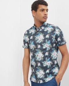 Bird print cotton shirt - Blue   Shirts   Ted Baker UK #WedWithTed @tedbaker