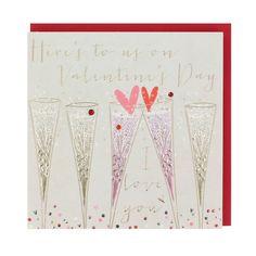 Champagne glasses Valentine's card